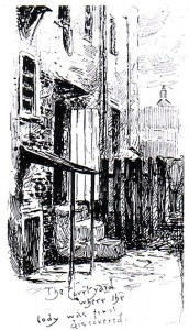 A sketch showing the site of the murder of Annie Chapman.