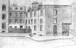 A sketch of the MItre Square murder site of Catherine Eddowes.