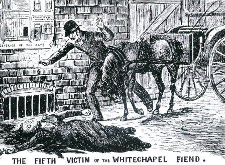 An sketch of club steward Louis Diemshutz finding the body of victim Elizabeth Stride.