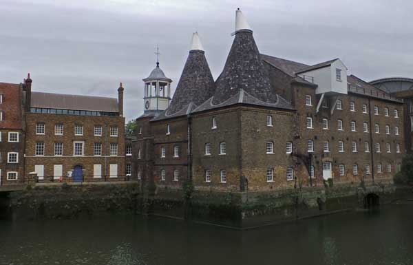 A view of the Three Mills complex in East London