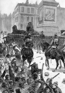 An Illustration showing the Bloody Sunday riot in Trafalgar Square.