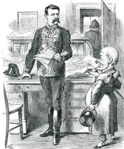 A cartoon showing Sir Charles Warren With Mr Puncg.