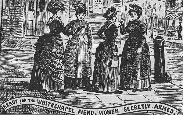 A group of Whitechapel Women brandishing guns and knives.