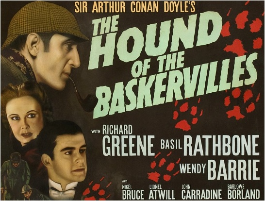 A poster advertising Basil Rathbone as Sherlock Holmes in the Hound of the Baskervilles.