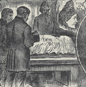 A black and white image showing Elizabeth Stride at the mortuary.