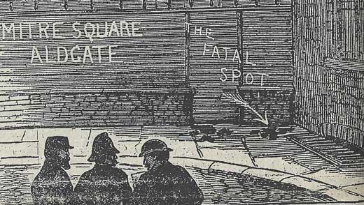 A police constable and a detective look at the scene of the murder.