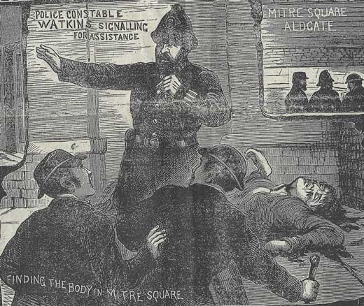 Pc Wtakins standing over the body of Catherine Eddowes and blowing his whistle.