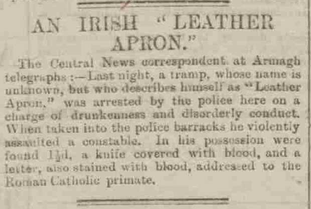 A newspaper article headlined an Irish Leather Apron.