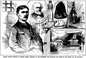 A press illustration showing the scene of the murder of Miriam Angel by Israel Lipski.