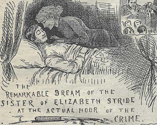 An illustration showing Elizabeth Stride stooping to kiss Mary Malcolm