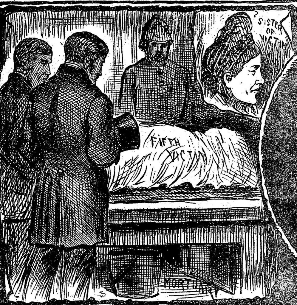 An illustration showing Elizabeth Stride's body at the mortuary inset with an image of Mary Malcolm.
