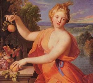 The Roman Goddess Pamona holding an apple.