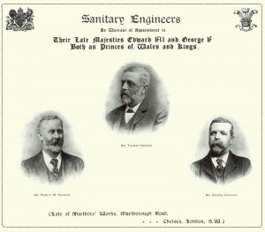 The paper showing Thomas Crapper and his Royal Warrants.