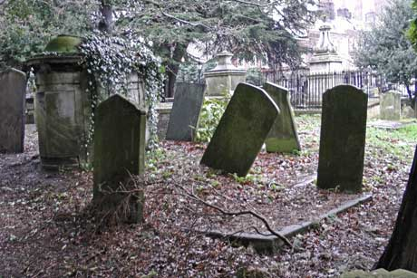 Leaning gravestones in St JOohn's Churchyard.