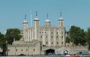 A view of the White Tower which stands at the heart of the Tower of London.