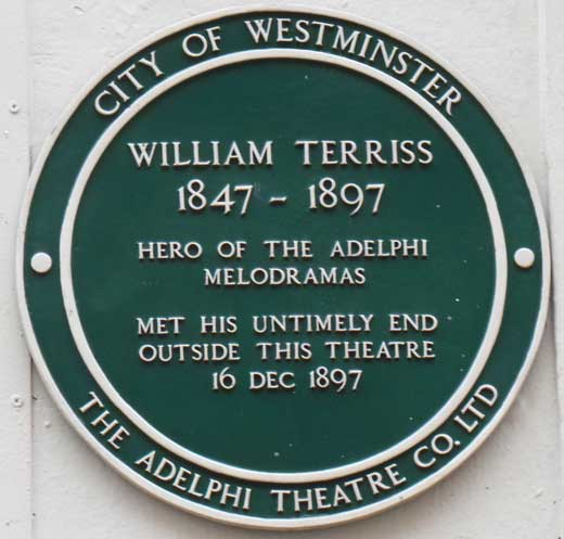 The green plaque commemorating the murder of William Terriss.