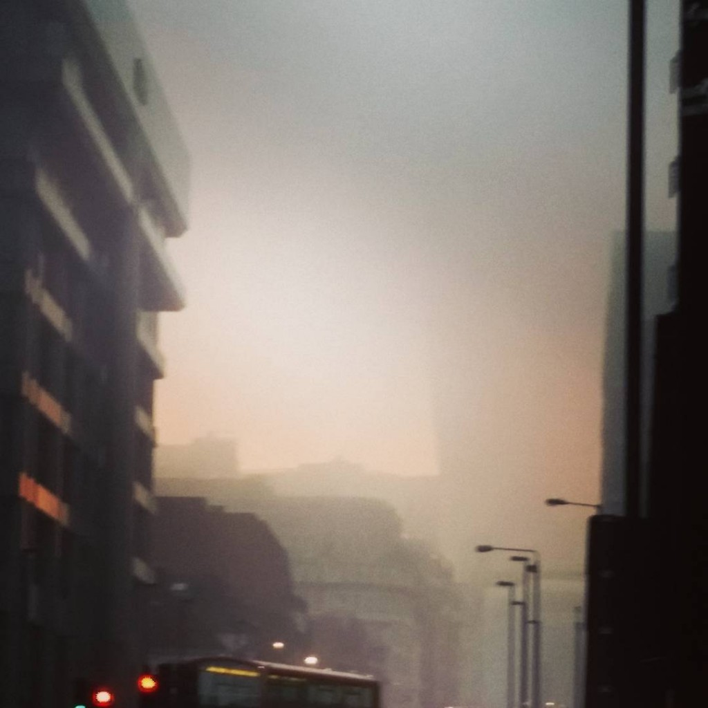 London offices seen through a thick fog.