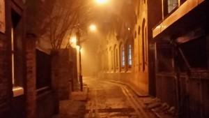 An image of Gunthorpe Street in a London Fog.
