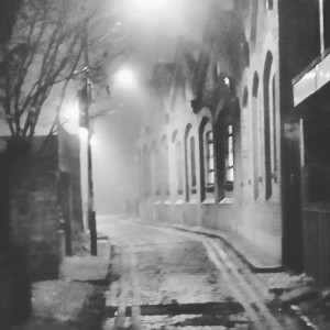 A black and white photograph of Gunthorpe Street in the fog.