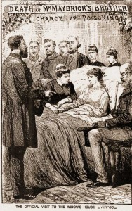 An illustration reporting the death of James Matbirck showing his wife Florence in bed.
