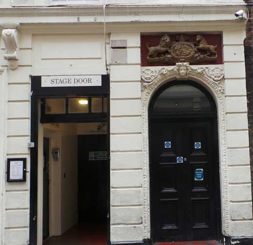 A view of the aiden Lane Royal Entrance to the Adelphi Theatre.