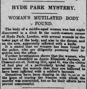 The newspaper report on the finding of the body of Alice Elizabeth Jarman.