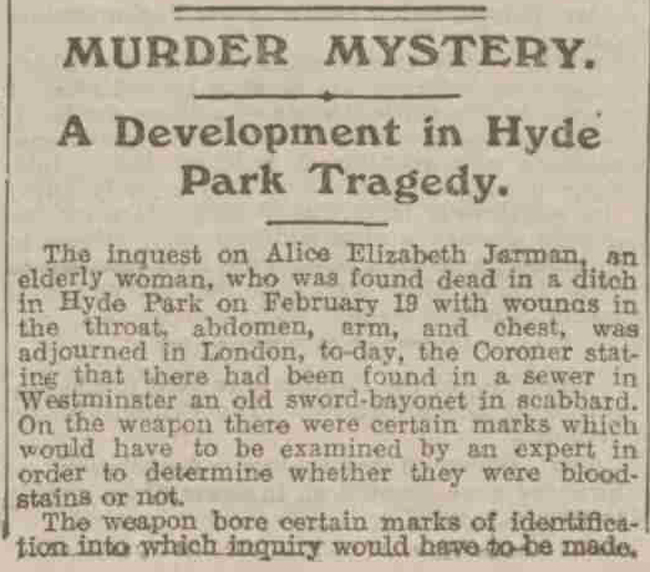 The news clippping from the Manchester Evening news talking about the discovery of the bayonet.