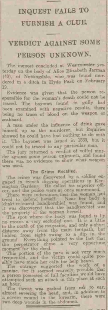 The newspaper article announcing the verdict on the death of Alice Jarman.