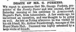 The announcement of the death of George Purkess in the Illustrated Police News.