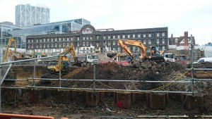 A view of the building work on Dorset Street.