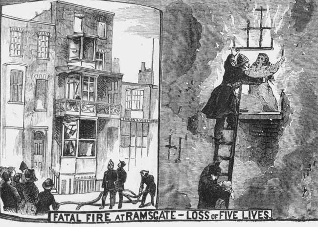 An illustration showing a woman at the window of a blazing building.