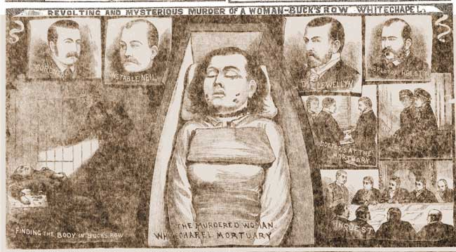 An illustration showing Mary Nichols in her coffin.