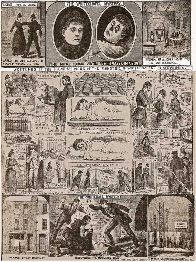 The front page of the Illustrated police News showing the Whitechapel Murders up to that point.