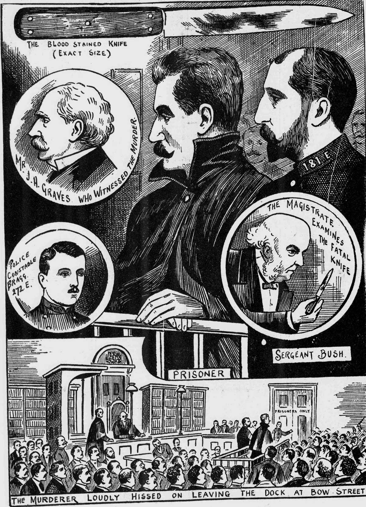 Illustrations showing the accused in court.