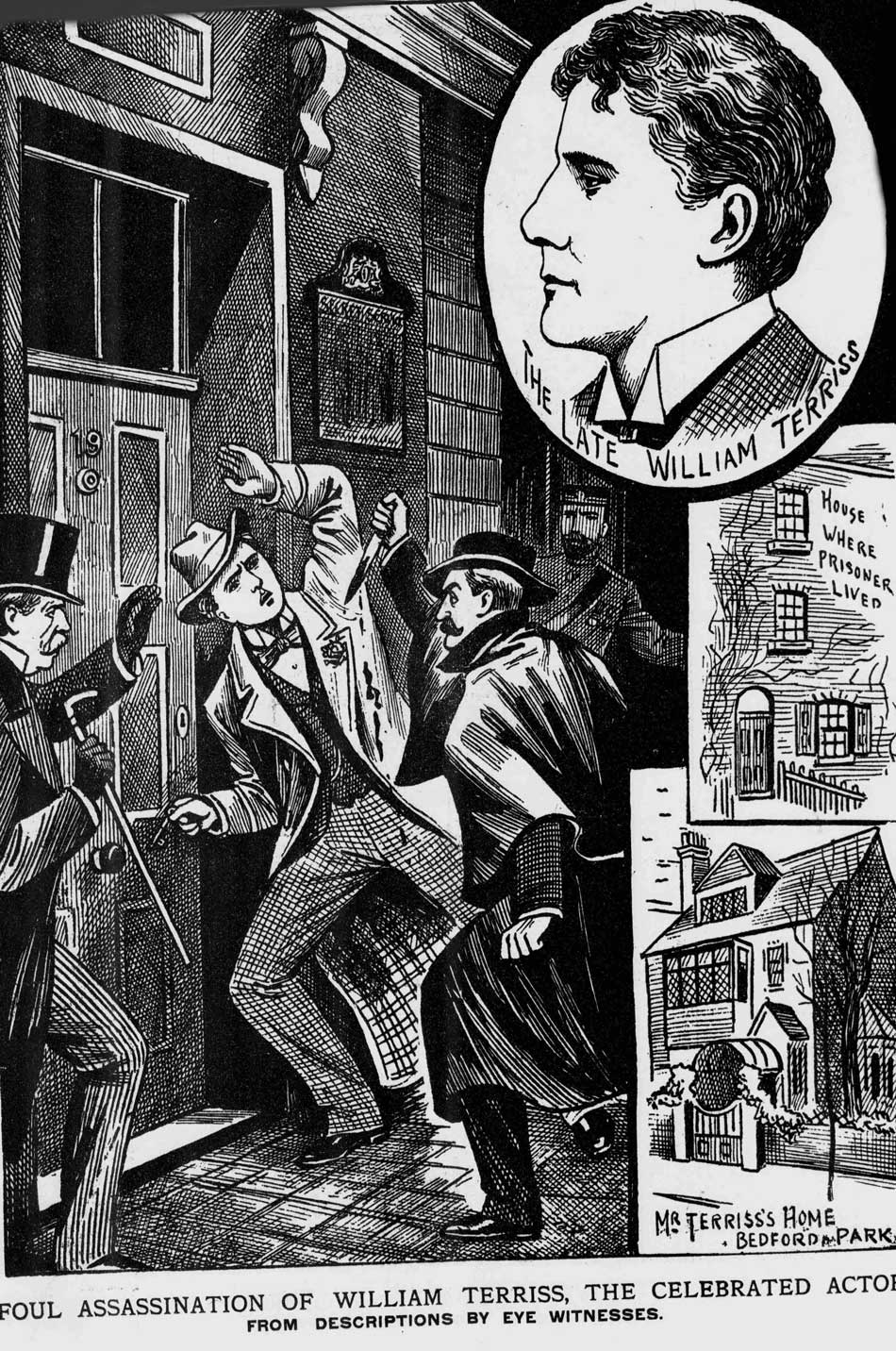 An illustration showing the knife attack on William Terriss.