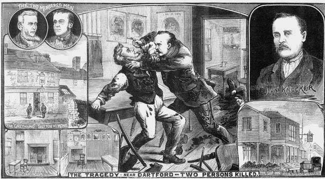 An illustration showing a man attacking another with a razor.