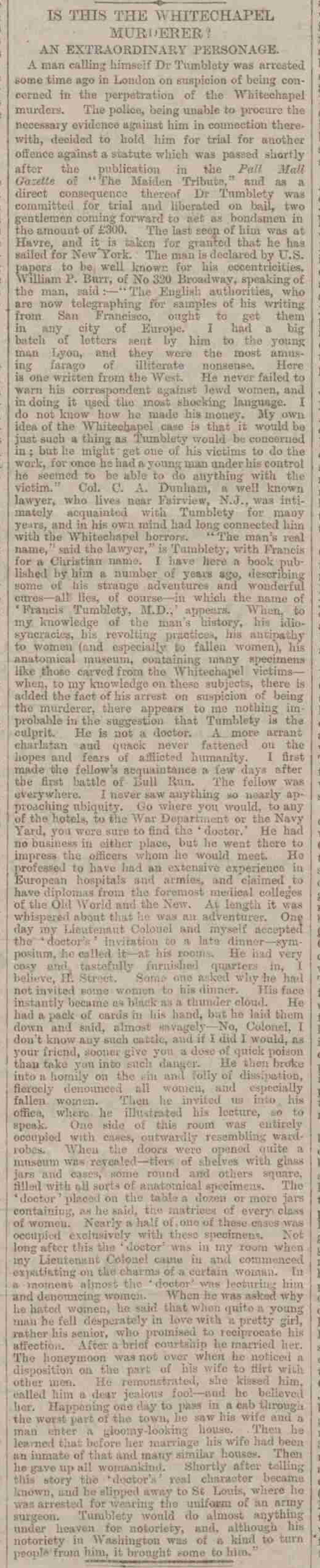 A press clipping about Jack the Ripper Suspect Francis Tumblety