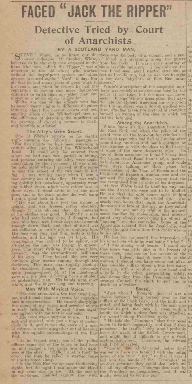 An artile from the newpapers September 1919 concerning Jack the Ripper.