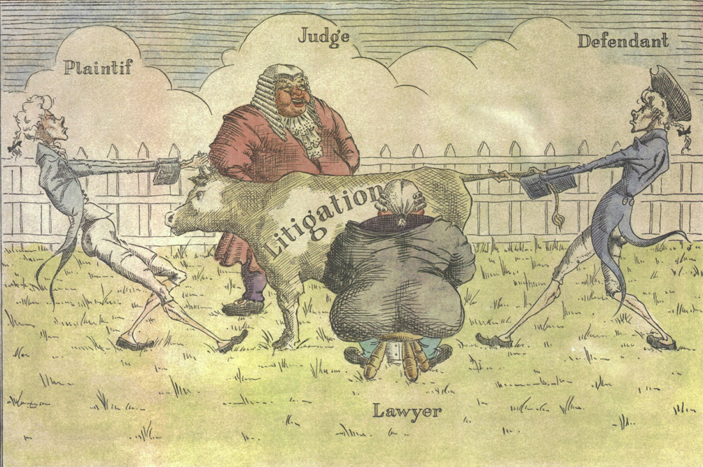An image of the Law Suit showing tow farmers fighting over a cow that is being milked by a lawyer.