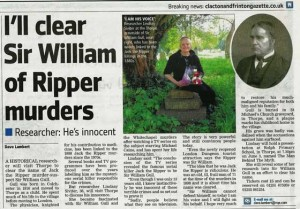 A newspaper article and photograph of Lindsay Siviter at Sir William Gull's grave.