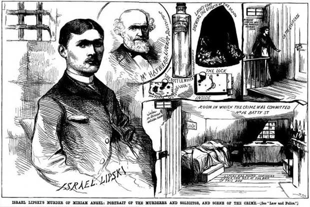A Victorian press sketch showing murderer Israel Lipski.