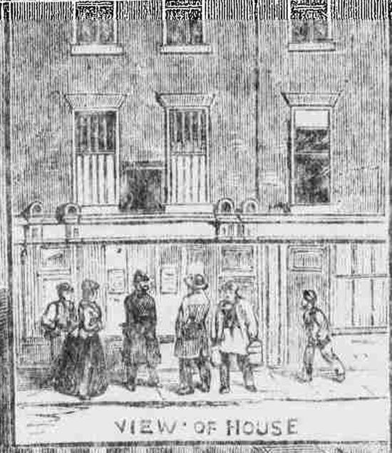 An illustration from the Illustrated Police News showing Lucy Clarke's House at 86 George Street.