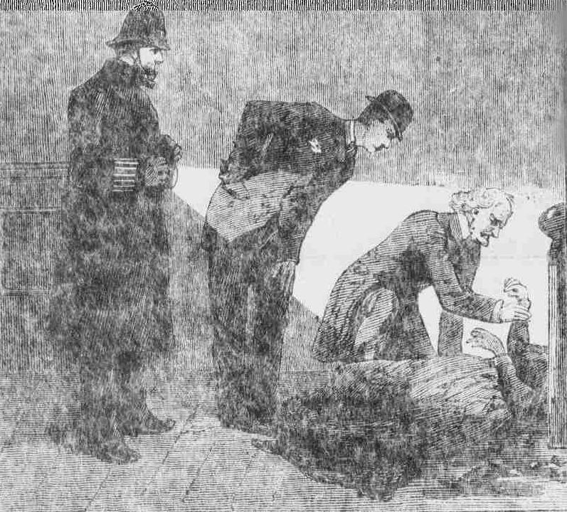 The dodctors and policeman examine the body of Lucy Clarke at the scene of the crime.