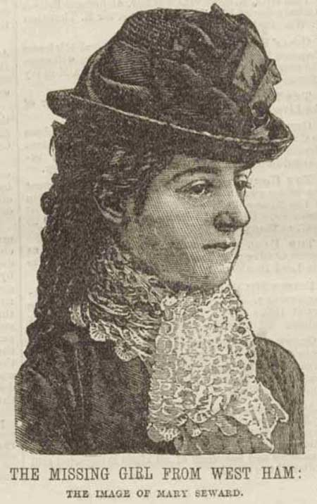 A press drawing of the vanished girl Mary Seward.