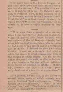 The article in which Robert Anderson Claimed not have drunk.