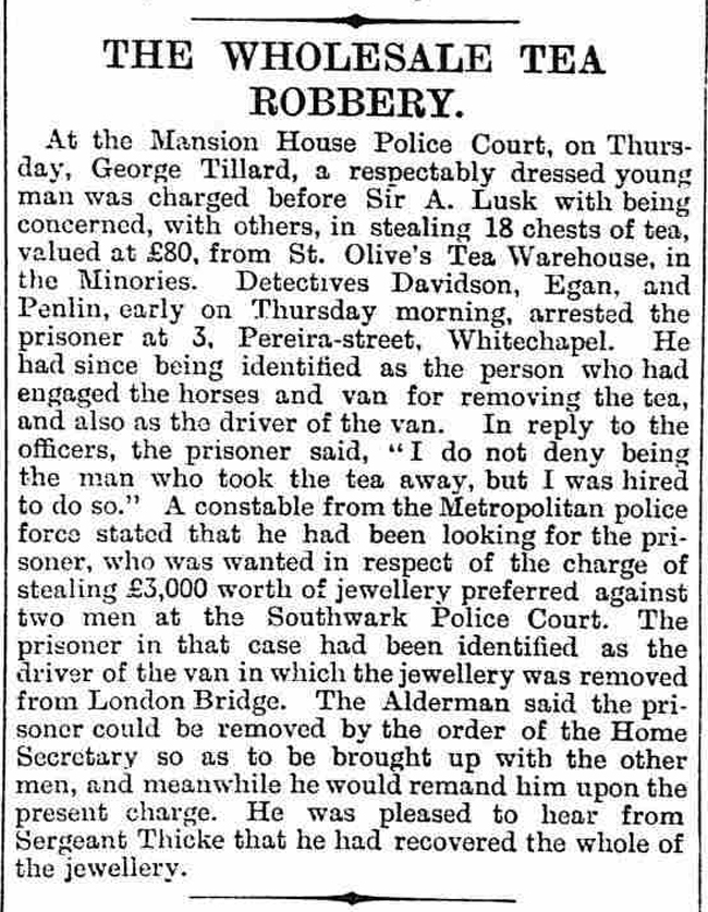 An article discussing Sergeant Thicke and a tea robbery. Copyright The British Library Board.
