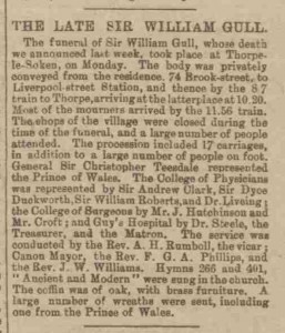 A press clipping detailing the Funeral of Sir William Gull