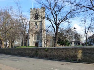 A view of thee stone tower of All Souls Church