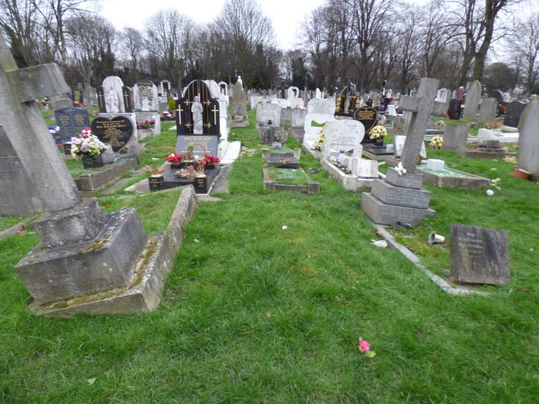 A view of the graves and plot where Amelia Jeffs was buried.
