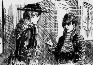 Amelia Jeffs talking to a neighbour's child.